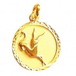 Pendentif médaille zodiaque astrologique Capricorne en plaqué or
