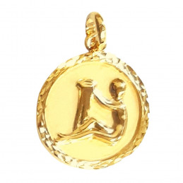 Pendentif médaille astrologique zodiaque Verseau en plaqué or