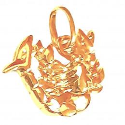 Pendentif Signe Astrologique zodiaque Scorpion en plaqué or + chaine