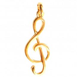 Pendentif Clef clé de Sol musique solfège en plaqué or + Chaîne