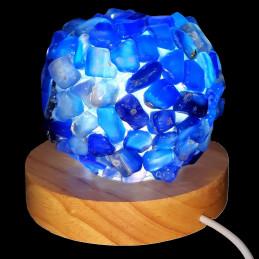 Lampe à LED en pierres roulées d'agate agathe bleue 7 - 8cm diamètre 450 gr env