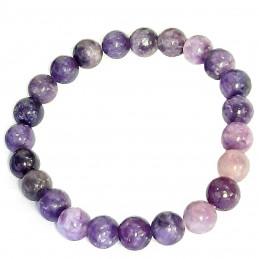 Bracelet  élastique de 23 perles rondes 8mm 8 mm en sugilite surgilite violette - 18cm