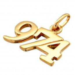 Pendentif 974 97-4 97 - 4 Ile de la réunion en plaqué or+ chaîne