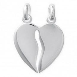 Pendentif grand Coeur sécable à partager en argent  - 1,5cm + 2 chaines