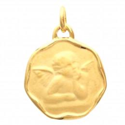 Pendentif médaille ange pour baptême en plaqué or + chaîne octo