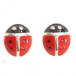 Boucles d'oreilles enfant Coccinelle rouge en argent 925°/00