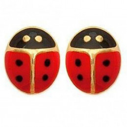 Boucles d'oreilles enfant Coccinelle rouge en plaqué or