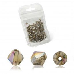 Lot de 90 perles toupies 4mm Imitation couleur gris