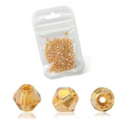 Lot de 90 perles toupies 4mm Imitation couleur topaze dorée