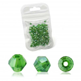 Lot de 90 perles toupies 4mm Imitation couleur vert herbe