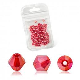 Lot de 90 perles toupies 4mm Imitation couleur rouge