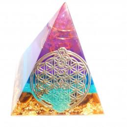 Pyramide orgonite orgone motif fleur de vie en résine, oeil de tigre, sable multicolore orgo1 5cm