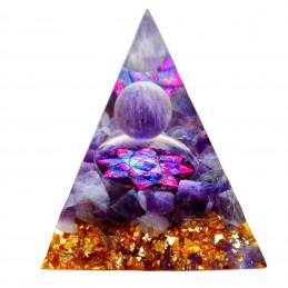 Pyramide orgonite orgone en résine et boule améthyste motif fleur orgo2 6cm