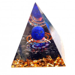 Pyramide orgonite orgone en résine et boule lapis lazuli et onyx noir orgo5 6cm