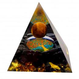 Pyramide orgonite orgone en résine et boule oeil de tigre et onyx noir motif arbre de vie orgo3 6cm