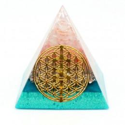 Pyramide orgonite orgone motif fleur de vie en résine, quartz rose, sable bleu orgo10 5cm