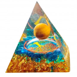 Pyramide orgonite orgone en résine et boule oeil de tigre et galets bleu motif arbre de vie orgo11 6cm