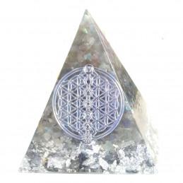 Pyramide orgonite orgone en résine et chips labradorite motif fleur de vie de vie orgo13 6cm