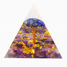Pyramide orgonite orgone en résine arbre de vie lapis lazuli et améthyste orgo14 6cm