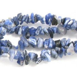 Fil de chips perles en Sodalite bleu marbré de blanc - fil 90cm