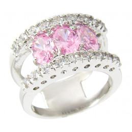 Bague Wi74 femme double anneau et zircons rose imitation or gris