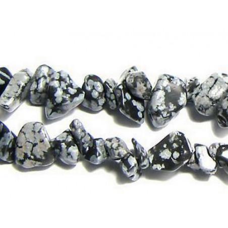 Fil de chips perles en Obsidienne flocons de Neige mouchetée - fil de 90cm NEUF