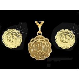 Parure Idéogramme Arabe Allah en plaqué or : pendentif + bo