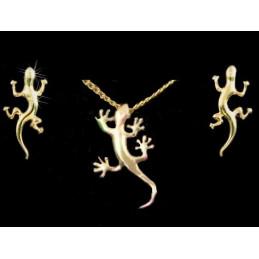 Parure Salamandre Gecko en plaqué or : pendentif + BO