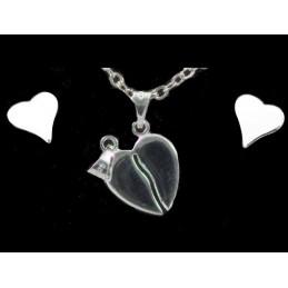 Parure Coeur sécable en argent : pendentif + BO