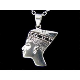Pendentif Néfertiti reine d'égypte en argent 925°/00 + chaine