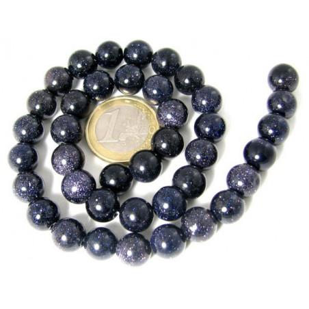 Fil de 48 perles rondes 8mm 8 mm en pierre de nuit synth bleu pailletée