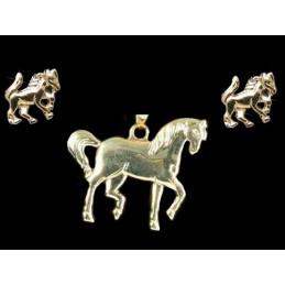 Parure Cheval en plaqué or : pendentif + BO