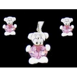 Parure ours nounours coeur rose argent : pendentif + BO