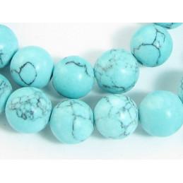 Fil de 48 perles rondes 8mm 8 mm en howlite bleu turquoise marbrée teintée