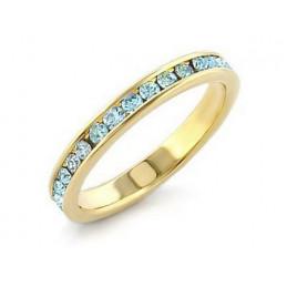 Bague Wi116 alliance femme doré perles  aigue marine