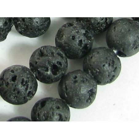 Fil de 38 perles rondes 10mm 10 mm en pierre de lave noire