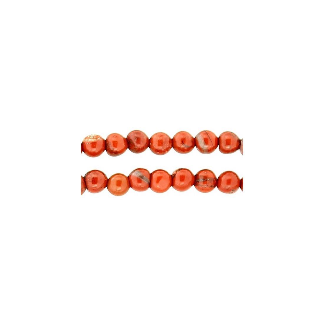 fil de 95 perles rondes 4mm 4 mm en jaspe rouge. Black Bedroom Furniture Sets. Home Design Ideas