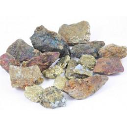 Lot de 400 grammes de Chalcopyrite teintée pierres brutes