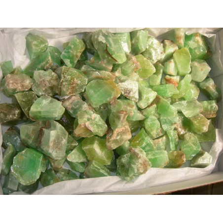Lot de 400 grammes de Calcite verte du Mexique pierres brutes