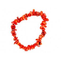 Fil de chips perles en corail rouge - bracelet de 18cm