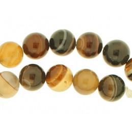 Fil de 46 perles rondes 8mm 8 mm en agate marron fonçé rayé