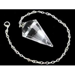 Pendule simple à facettes de radiesthésiste en Cristal de roche neuf