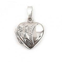 Pendentif Porte photo cassolette coeur en argent + chaîne