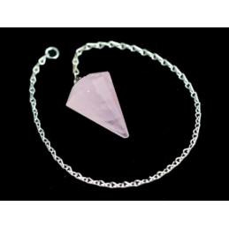 Pendule simple à facettes de radiesthésiste en Quartz Rose neuf