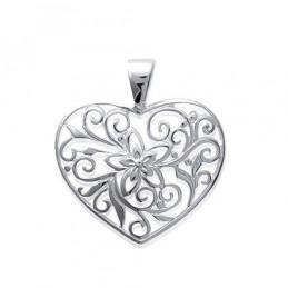 Pendentif coeur collection dentelle fleur en argent 925°/00 + chaîne