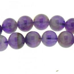 Fil de 48 perles rondes 8mm 8 mm en Améthyste