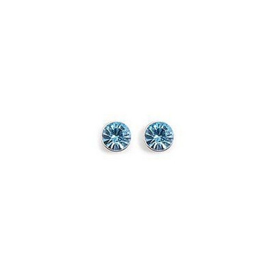 boutique officielle la réputation d'abord fabrication habile Boucles d'oreilles rond cz bleu aigue marine en argent
