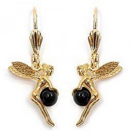 Boucles d'oreilles dormeuses fée perle d'onyx en plaqué or