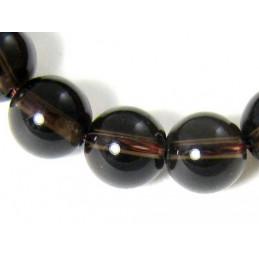 Fil de 64 perles rondes 6mm 6 mm en quartz fumé cristal