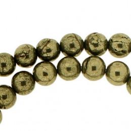 Fil de 64 perles rondes 6mm 6 mm en pyrite naturelle